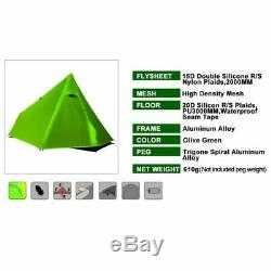 YOUGLE Ultralight Camping Tent Green 3 Season Single men Professional 15D Nylon